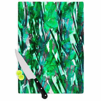 "Ebi Emporium ""Frosty Bouquet 7"" Green Abstract Cutting Board"