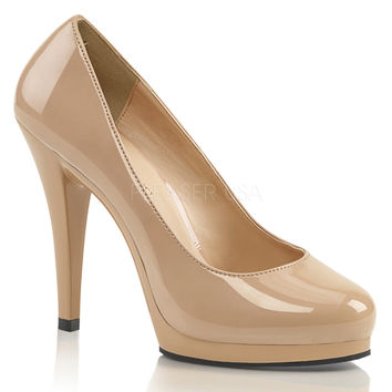 Fabulicious Flair Shiny Nude Slip On Pumps