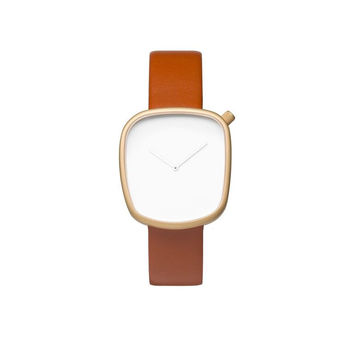 Pebble 05 - Gold Steel & Leather Watch