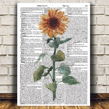 Watercolor art Flower poster Floral print Dictionary print RTA1803