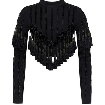 Iris Black Tassel Detail Long Sleeve Crop Top
