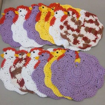 Chicken Potholder - crochet chicken hotpad - crochet trivet - chicken kitchen decor - rooster kitchen decor - farmhouse kitchen