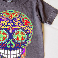 Hipster Boys Clothes Toddler Tshirt with Folk Art Skull. Tattoo Boys Clothes 2, 3 Grey tee shirt Rockabilly old school printed top 2T 3T
