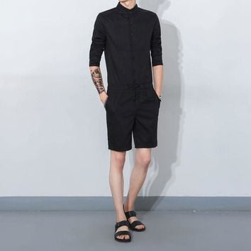 Mens Casual Short Sleeve Single Breasted Playsuit Overalls Round Collar Men's Romper Sets
