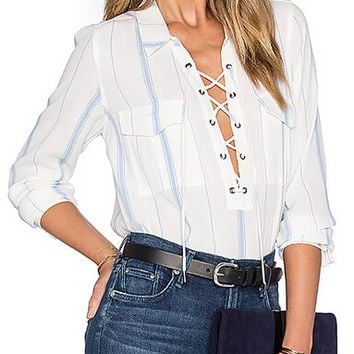 Blue Stripe, White Shirt, Front Lace Up, Sheer See Through, Long Sleeve Blouse