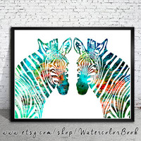 Zebras Watercolor Print, Archival Fine Art Print, Children's Wall, Art Home Decor, animal watercolor, watercolor painting, art print