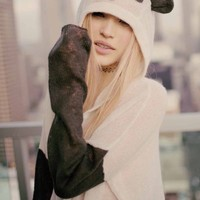 Wildfox Couture Panda Face Hooded Billy Sweater in Cherry Blossom