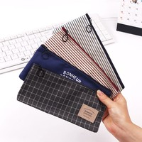 2PCS Stripes Pencil Bag Zipper Stationery Storage Bags Pencil Pouch Office Stationery Canvas Pencil Case