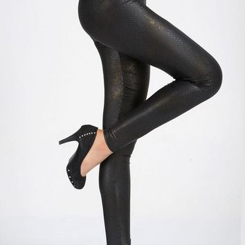 2017 New Sexy Shadow Metallic Snakeskin Leggings for Women's Clothing Pencil Pants Apparel & Accessories LC79383