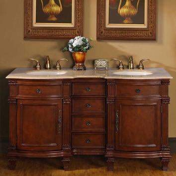 "Silkroad Exclusive 60"" Double Sink Cabinet Bathroom Vanity HYP-0722-T-UIC-60"