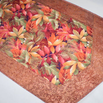 Quilted Runner Handmade Table Topper Red Orange Copper Green Accent