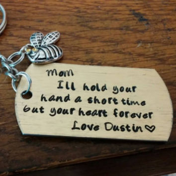 I'll hold your hand a short time but your heart forever. Specialized keychain mom daddy gift occasion baptismal holiday