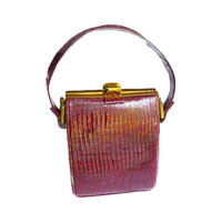 Vintage Handbag, Original Duette, Leather Handbag, Metal Frame, Hinged, Maroon Red, Satin, Change Purse, Ladies Accessories