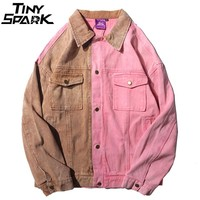 Mens Denim Jackets Vintage Color Block Patchwork Pink Jacket Jeans Streetwear Hip Hop Denim Bomber Jacket Fashion Autumn 2018