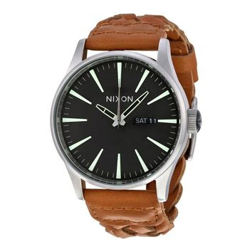 Nixon Sentry Dark Copper Dial Brown Woven Leather Mens Watch A1051959