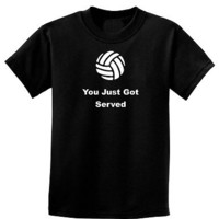 "Volleyball ""You Just Got Served"" Childrens Youth T-Shirt Sizes 4Y to 20Y"