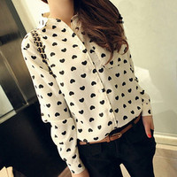 Spring Fashion Long Sleeved Chiffon Black and White Heart Printed Shirt _ 5