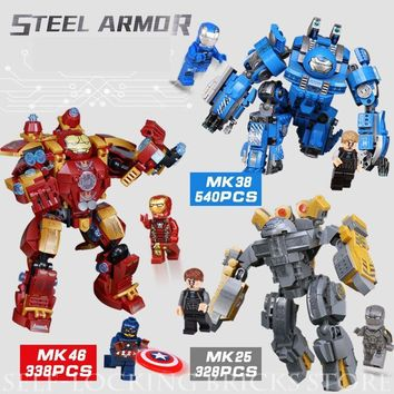 Mailacker 38001 Iron Man Military Legoing Marvel The Avengers Toys For Children Super Heroes Large Robot Warfare Bricks Legoing