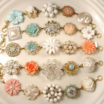 Ivory, Peach, Coral, Mint Blue Pearl and Rhinestone Bridesmaid Bracelets Gold Vintage Cluster Earring Bracelets Set 5 Wedding Gifts Rustic