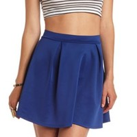 Pleated High-Waisted Skater Skirt by Charlotte Russe - Cobalt
