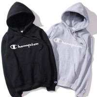 Champion men and women hooded plus velvet sweater cotton couple paragraph sets of sweaters