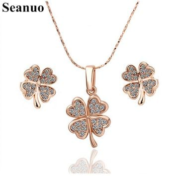 Seanuo Rose flower crystal necklace & earrings wedding jewelry set for elegant women fashion rose gold color stone female bijoux