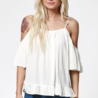 LA Hearts Ruffled Hem Cold Shoulder Top at PacSun.com