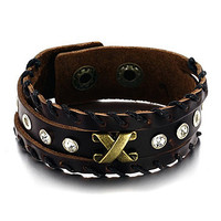 Genuine Cow Leather Laced Hem Slit Wrist Band