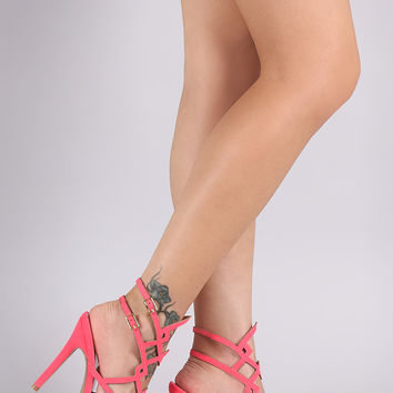 Qupid Nubuck Strappy Cutout Ankle Strap Heel