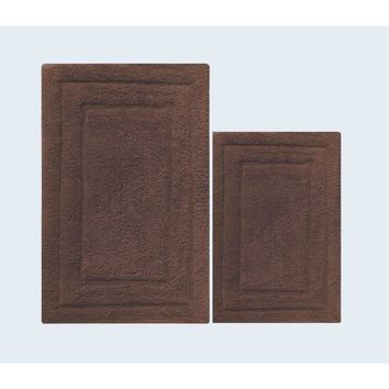 Foldable and Absorbent 2 Piece Bath Rug Set In Cotton, Nutmeg Brown