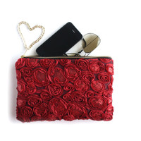 Romantica - Red Sequined Rosette Swirl Clutch Purse. Red Mesh Lace Pouch. Boutique Evening Bag. Free US Shipping
