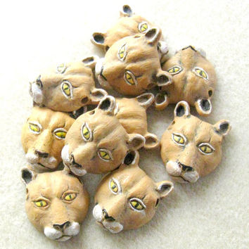 Peruvian Ceramics Mountain Lion Catamount Puma Couger Animal Head Pendant Bead Jewelry Making Bead Supplies Ceramic Beads Craft Supplies
