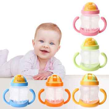 1Pc New Double Handle Baby Trainer Cup Straw Type Cup Baby Kids Children Feeding Drinking Water Cup 280ml