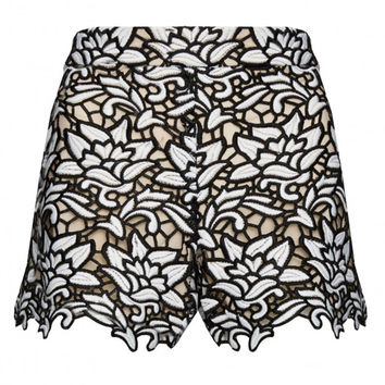 Alice + Olivia Black and White Highwaist Lace Shorts