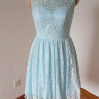 Homecoming Dress,Lace Sky Blue Backless Bowknot Short Prom Dress