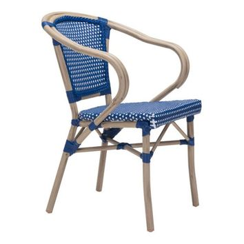 Paris Dining Arm Chair Navy Blue & White S/2