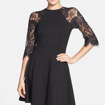 Women's BB Dakota 'Yale' Lace Panel Fit & Flare Dress,