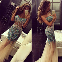 Sparkly Artificial Rhinestone Beaded Mermaid Prom Dress Champagne Tulle Long Evening Dress APD1623