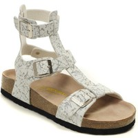 Birkenstock Chania Sandals Leather Black And White Striped - Ready Stock