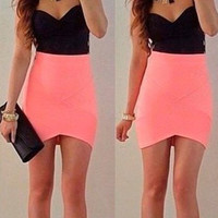 Black and Pink Spaghetti Strap Mini Dress