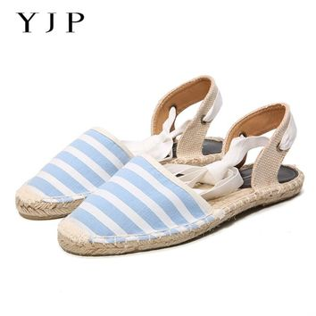 YJP Women Canvas Espadrilles, Black/White/Pink/Sky Blue Striped Flats, Ladies Ankle Strap Hemp Bottom Fisherman Shoes For 2017