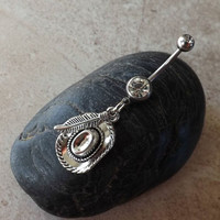 Cow Boy Hat and Feather Dangling 14ga Navel Ring Body Jewelry