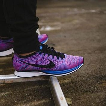 """Nike Flyknit Racer"" Unisex Sport Casual Fly Knit Multicolor Sneakers Couple Running S"