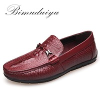 Spring Autumn Fashion Men Slip On Casual Shoes Genuine leather Crocodile pattern Male Breathable Flat Driving Shoes