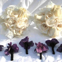"Bridesmaid Bouquet, Ivory  Wedding,  Bridal, Gothic inspired, Cotton, Satin, 8"" Lace, Bridesmaid ,  Roses, Fabric Flower Bouquet, weddings"