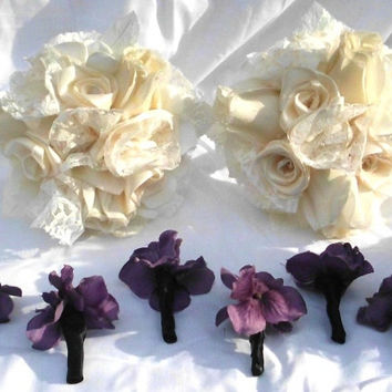 """Bridesmaid Bouquet, Ivory  Wedding,  Bridal, Gothic inspired, Cotton, Satin, 8"""" Lace, Bridesmaid ,  Roses, Fabric Flower Bouquet, weddings"""