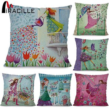 "Miracille Square 18""  Flowers Girls Printed Cartoon Sofa Throw Cushions Butterfly Living Room Decorative Pillows Without Filling"