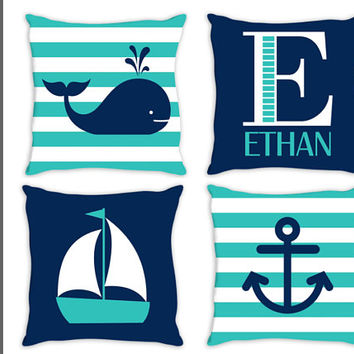 NAUTICAL PILLOW, Insert Included, Whale Sailboat Anchor, Matching Bedding, Choose Your Colors, Hampton Home Decor, Coastal Nursery, Set of 4