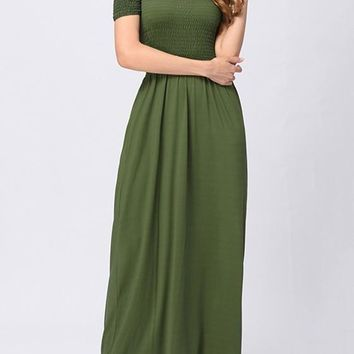 Casual Army Green Draped Bandeau Short Sleeve Elegant Maxi Dress