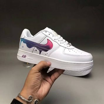 """Nike Air Force 1"" Sport Casual Fashion Classic Graffiti Leather Low Help Plate Shoes Women Thick Bottom Sneakers"